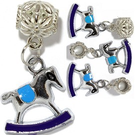 4pc Charm Rocking Horse Silver Blue BD2236