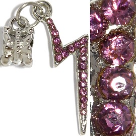 3pc Charm Lightning Rhinestone Purple BD2244