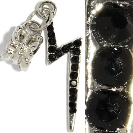 3pc Charm Lightning Rhinestone Black BD2247