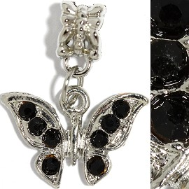 2pc Charm Butterfly Rhinestones Black BD2252