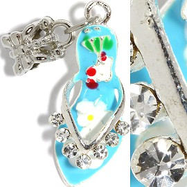 2pcs Charms Rhinestone Lady's Shoes Sky Blue BD2258