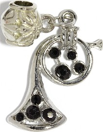 3pc Charm French Horn Rhinestone Black BD2267