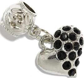 2pc Charm Rhinestone Heart Black BD2294