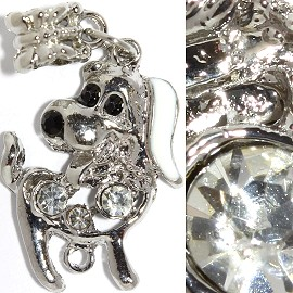 2pc Charm Dog Rhinestone Silver Clear BD2326