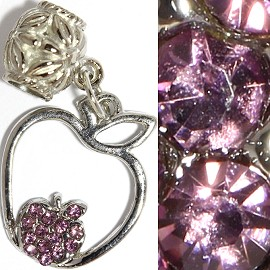 3pc Charm Apple Rhinestone Purple BD2329