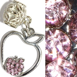 3pc Charm Apple Rhinestone Pink BD2330