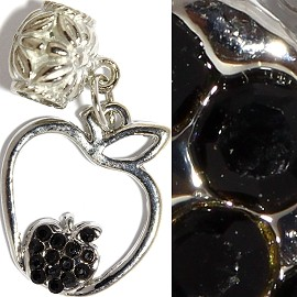 3pc Charm Apple Rhinestone Black BD2334