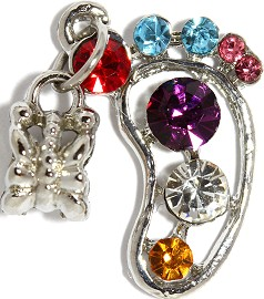 2pc Charm Foot Rhinestone Multi Color BD2338