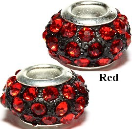 2pcs Rhinestone Beads 14x9mm Red BD2367
