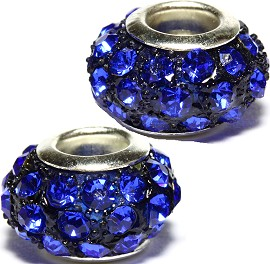 2pcs Rhinestone Beads 14x9mm Blue BD2368