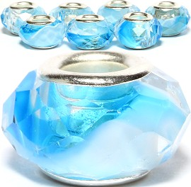 8pcs Crystal Beads Sky Blue Clear White BD2403