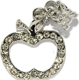 2pc Charm Rhinestone Apple Silver BD2421