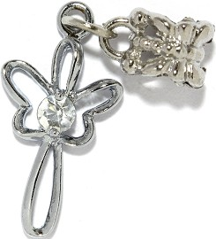 4pc Charm Angel Outline Rhinestone Silver BD2434