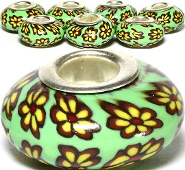 8pcs Clay Beads Camouflage Flower Green BD2557