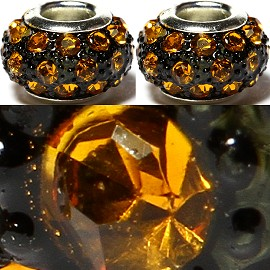 2pcs Rhinestone Beads 15x9mm Orange BD2627