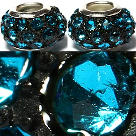 2pcs Rhinestone Beads 15x9mm Turquoise Black BD2629
