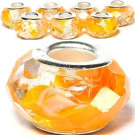 8pcs Crystal Beads Orange Clear White BD2657