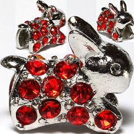3pc Charm Rabbit Rhinestone Red BD2679