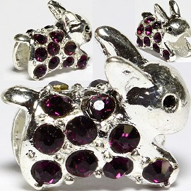 3pc Charm Rabbit Rhinestone Purple BD2681