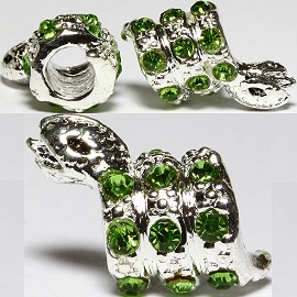 3pc Charm Snake Rhinestone Green Screw BD2687