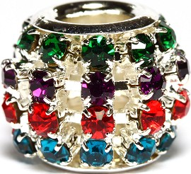 1pc Charm Rhinestone Round 12x10mm Multi Color BD2698
