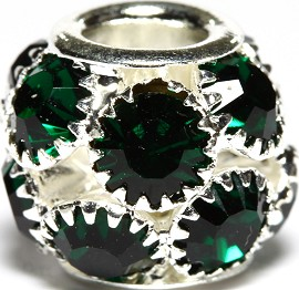 1pc Charm Rhinestone Round 12x10mm Green Dark BD2706