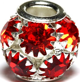 1pc Charm Rhinestone Round 13x12mm Red BD2717
