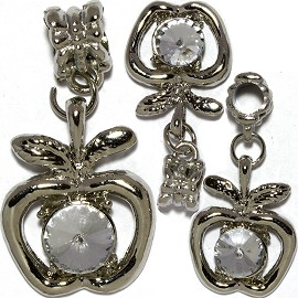 3pc Charm Apple Silver Crystal Clear BD2738
