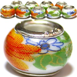 8pcs Ceramic Bead Flower Green Orange BD2793