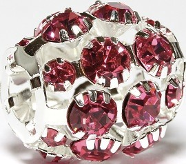 1pc Charm Rhinestone Ball Pink 19x19mm BD2824