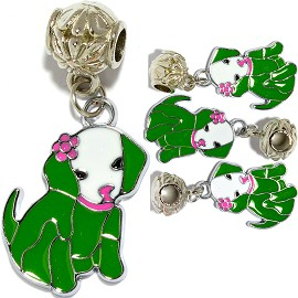 4pc Charm Dog Green BD2866
