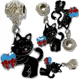 4pcs Charm Cat Gift Black BD2906