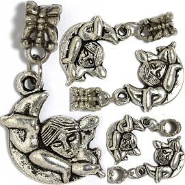 5pcs Charms Moon Boy Silver BD2917