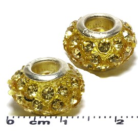 2pcs Beads Rhinestones Light Yellow BD2929