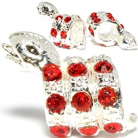 3pc Charm Snake Rhinestone Red Screw BD2998