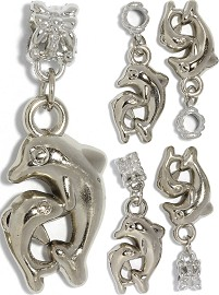 5pc Charm Dolphins Silver BD3010