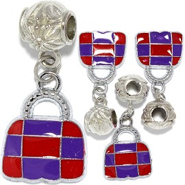 4pc Charm Purse Purple Red BD3012