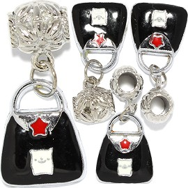 4pcs Charm Purse Black White BD3015