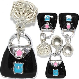 4pcs Charm Purse Black Turquoise BD3016