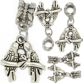5pcs Charm Birds Kiss Silver BD3038