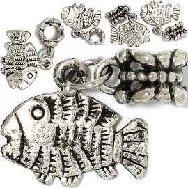5pc Charm Fish Silver BD3054