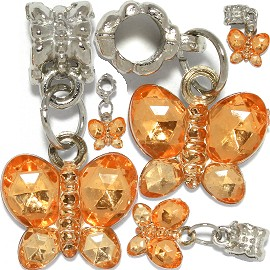 5pcs Charm Crystal Butterfly Orange BD3064