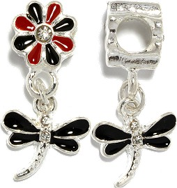 2pcs Charm Dragonfly Red Black Silver BD3072