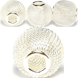 4pc Mesh Bead Metal Link 16x15mm White Silver BD3092