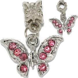 2pc Charm Butterfly Rhinestones Pink BD3101