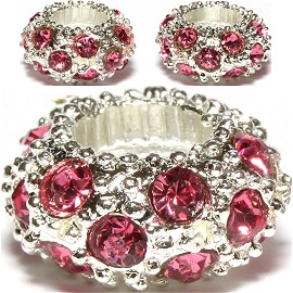 3pcs Charm Round Silver Hot Pink BD3123
