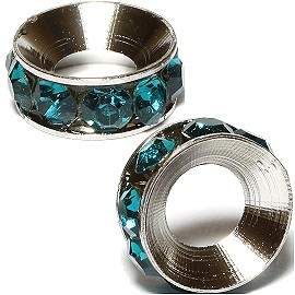2pc Rhinestone 9mm Circle Charm Teal Silver BD3127