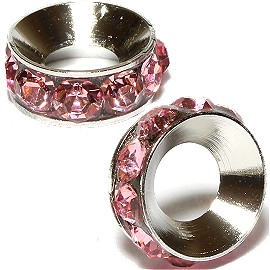 2pc Rhinestone 9mm Circle Charm Pink Silver BD3129