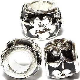 Charms 3pcs Pack Flower Crystal Black BD3130
