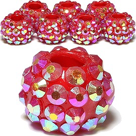 8pc Plastic Rhinestone Beads Red Aura BD3137